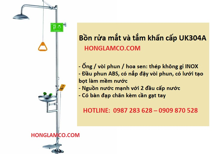Bồn rửa mắt khẩn cấp UK304A - Sự lựa chọn hàng đầu cho doanh nghiệp