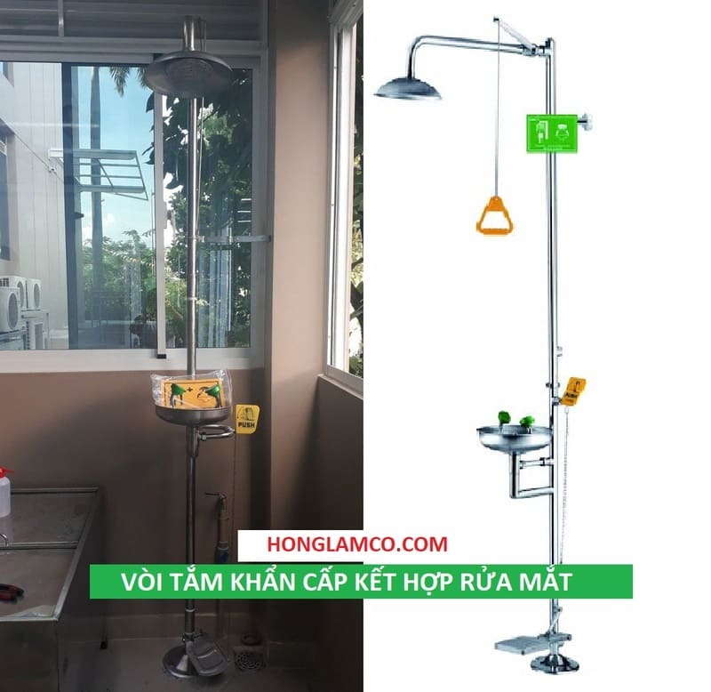 Cây tắm khẩn cấp thiết kế gọn gàng và đạt chuẩn chất lượng